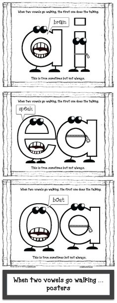"Vowels Go Walking Posters Vowel activities: FREE ""When Two Vowels Go Walking"" anchor-chart posters.Vowel activities: FREE ""When Two Vowels Go Walking"" anchor-chart posters. Vowel Activities, Reading Activities, Reading Skills, Teaching Reading, Alphabet Activities, Guided Reading, Reading Mastery, Reading Projects, Reading Practice"