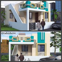 54 ideas for art gallery architecture elevation House Front Wall Design, House Design Drawing, Single Floor House Design, House Outside Design, Village House Design, Bungalow House Design, Small House Design, Front Design, Drawing Designs
