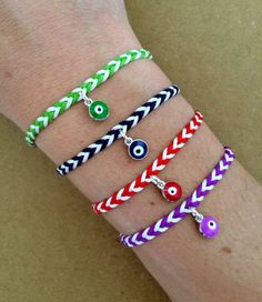 Colorful Braided Friendship Bracelet with Silver by izou.gr, €12.00