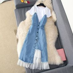 2019 Korean O-Neck Spaghetti Strap Casual Dress Streetwear Tassel Mesh Dress A-Line Denim Blue Button Transparent Midi Dress Cute Casual Outfits, Pretty Outfits, Big Girl Clothes, Clothes For Women, Mode Pastel, Streetwear, Womens Denim Dress, Summer Dresses For Women, Cute Dresses