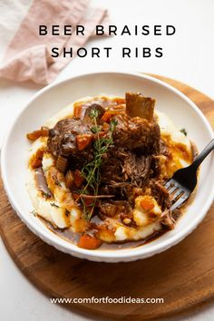 Braised Short Ribs: A perfect indulgent meal. Fall-off-the-bone tender short ribs slow cooked in dark stout gravy. It's pure comfort food.  #beefshortribs #shortribs #braisedshortribs #beerbraisedshortribs #comfortfood #dinnerpartyrecipes #whatsfordinner #recipe #dinner #ribs #mashedpotatoes #easydinner #instantpot Dinner Party Recipes, Winter Dinner Recipes, Thanksgiving Recipes, Dinner Ideas, Beer Braised Short Ribs, Beef Short Ribs, Rib Recipes, Healthy Recipes, Everyday Food