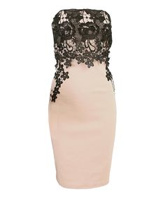 Loving this London Dress Company Nude & Black Lace-Accent Strapless Dress on #zulily! #zulilyfinds