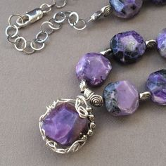 Excited to share the latest addition to my #etsy shop: Bold Charoite Necklace Purple Jewelry Gemstone Necklace Natural stone Jewelry Boho Style Necklace Womens Gift #jewelry