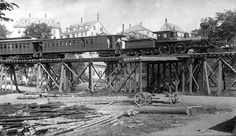 Boston & Maine Railroad train on Hillsborough trestle Photo by William H., early Manahan-Phelps-McCulloch Collection of the Hillsborough Historical Society Us History, American History, Chattanooga Choo Choo, Railroad Bridge, Railroad History, Abandoned Train, Tornadoes, Train Tracks, Historical Society