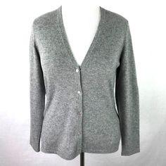 Lands' End Gray Cashmere V-Neck Cardigan Sweater Womens M 10 12 #LandsEnd #Cardigan