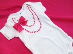Baby Girl Necklace Onesie with Bow by BellaBlitz on Etsy, $14.99