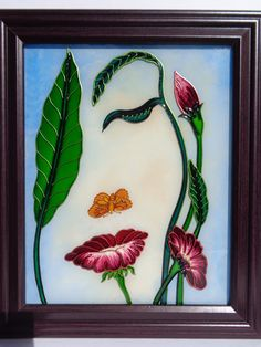 Flower art Glass painting Flowerscape painting by CozyHome1