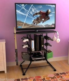 Gaming-Storage-Center-TV-Stand-37-Video-Game-Organizer-Home-Furniture-PS-Wii
