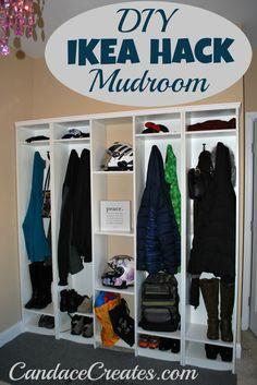 DIY IKEA Hack Mudroom: an easy way to organize all of those coats, purses, backpacks, gloves. Coat Closet Organization, Home Organization, Organizing Shoes, Ikea Hacks, Retro Furniture, Diy Furniture, Furniture Websites, Inexpensive Furniture, Garage Lockers