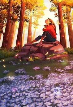 The Sound Of Nature, an art print by Yaoyao Ma Van As : Girls Cartoon Art, Illustration Art Girl, Animation Art, Alone Art, Dreamy Art, Cute Art, Art, Digital Art Girl, Aesthetic Art