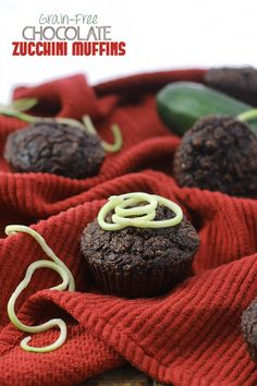 grain-free chocolate zucchini muffins- delicious #grainfree muffins made with almond meal and coconut flour and sweetened with honey! @TheHealthyMaven