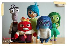 Inside Out Crochet patterns: All the emotions together. This is also the link to the free patterns.