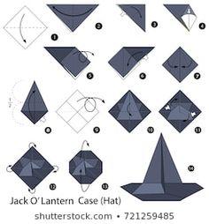 Step by step instructions how to make origami Jack O' Lantern Hat. Origami Yoda, Origami Star Box, Origami Dragon, Origami Fish, Origami Stars, Origami Instructions Step By Step, Origami Easy Step By Step, Origami Tutorial, Ideas
