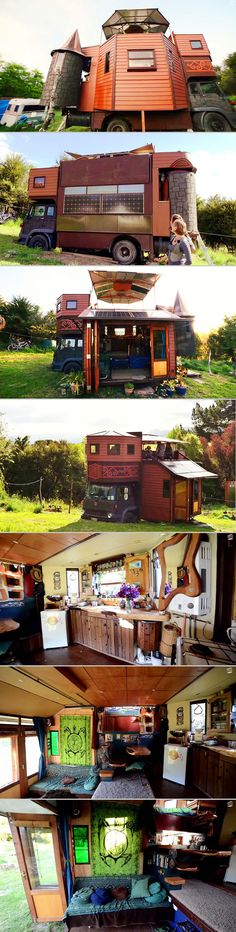 This zany off-the-grid home would look like an ordinary truck house if it weren't for the two turrets on the back. These can be rotated inwards for travel mode, but when parked, the truck house transforms into a tiny fantasy castle. The owners built it as a solar-powered compact home that can harvest rainwater on the go, and while it is definitely quirky, we also think it's kind of awesome.