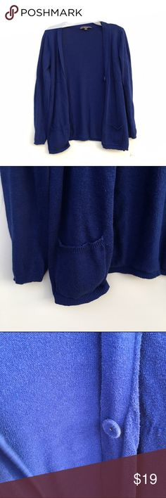 Cobalt Blue Cardigan Knit cobalt blue Cardigan with one button if wished to be worn buttoned up.  Pockets on each bottom side of front. Sweaters Cardigans