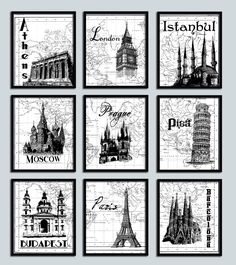 Possible Guest Bathroom Artwork - Wedding Gift Travel poster print set 9 NINE prints Modern decor London Paris Moscow Pisa Famous Landmarks World map print European Honeymoon. $59.99, via Etsy.