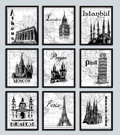 Possible Guest Bathroom Artwork - Wedding Gift Travel poster print set 9 NINE prints Modern decor London Paris Moscow Pisa Famous Landmarks World map print European Honeymoon. $59.99, via Etsy.