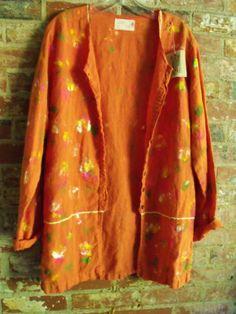 Linen Smock/Deep Coral Orange/Splatter Painted/Summer by SheerFab, $48.00