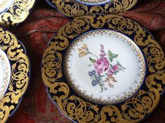JP Pouyat Limoges France Cobalt Encrusted Gold Dresden Flowers 6 Cabinet Plates  in Pottery & Glass, Pottery & China, China & Dinnerware | eBay!