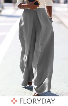 Casual Loose Pure Color Irregular Long Pants – jollyluva overall outfits long long sleeve outfits overall long dress pant adidas pants outfit long overalls outfit Fashion Pants, Look Fashion, Daily Fashion, Fashion Outfits, Womens Fashion, Cheap Fashion, Latest Fashion, Loose Pants, Wide Leg Pants