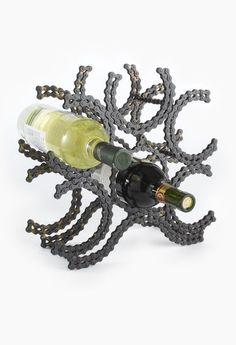 Recycled Bike Chain Wine Rack