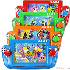 SEA LIFE RING TOSS WATER GAMES. These little water games will provide hours of entertainment. Press the buttons and stack the rings on the swords. Assorted styles and colors. Each polybagged w/header. Perfect for road trips and party favors.  Size 6 X 3 Inches