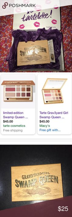 Tarte Swamp Queen Eyeshadow Palette! Barely used, mabye 2 times. Very pigmented! Comes with all original packaging! Highlighter has INTENSE glow! Nice mirror! Collar with Graveyard girl on youtube! All colors are basically brand new! Comes with brush! tarte Makeup Eyeshadow