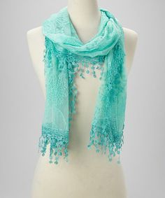 Look at this #zulilyfind! Green Mesh Crochet Tassel Scarf by Italmode #zulilyfinds