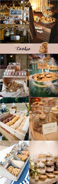 Rustic cookie wedding dessert food bar ideas for wedding reception / http://www.deerpearlflowers.com/wedding-catering-trends-dessert-bar-ideas/2/