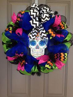 Dia de los Muertos, Day of the Dead, Sugar Skull Deco Mesh Wreath, Halloween Wreath