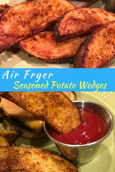 Seasoned Crispy Potato Wedges - Air Fryer Recipe - She Cooks With Help