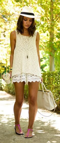 Love this all white outfit with a loose top and white lace shorts. The summer hat and hot pink sandals are a great touch as well! #SummerTrends –– ChicWish.com