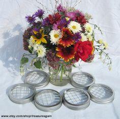 mason jar lids for flower arranging
