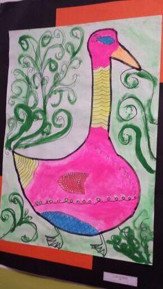 Water coloured line detailed birds by grade six. Color Lines, Owls, Birds, Watercolor, Detail, Friends, Art, Craft Art, Watercolour