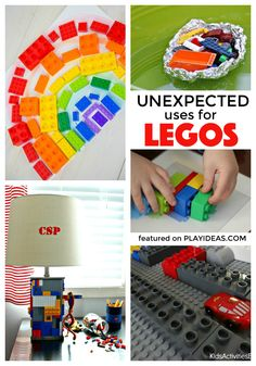 11 Unexpected Ways to use Legos! Such great ideas! by paulaqwest Lego Activities, Craft Activities For Kids, Games For Kids, Lego Games, Craft Ideas, Lego For Kids, Diy For Kids, Crafts For Kids, Kids Fun