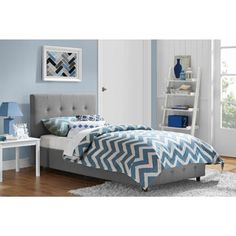 DHP Maddie Grey Linen Upholstered Twin Bed - Overstock Shopping - Great Deals on DHP Kids' Beds