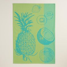 Aqua and Green Pineapple Jacquard Kitchen Towel | World Market