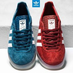 New arrivals - Adidas Gazelle Indoor in True Blue (080502) & Nomad Red (080503) available now online, priced at £66.99 #footasylum #adidas #adidasoriginals @adidasoriginals