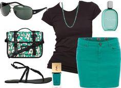 Falda verde y blusa color negro