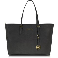 Michael Kors Jet Set Macbook Travel Tote ($300) ❤ liked on Polyvore featuring bags, handbags, tote bags, michael kors, purses, black, zippered travel tote, zippered tote bag, handbag purse and hand bags