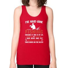 I HAVE Gone fishing Unisex Fine Jersey Tank (on woman)