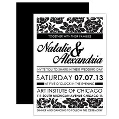 Modern / Floral Wedding Invitation  by DfinitiveDesign on Etsy, $22.00