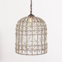 Crystal bead birdcage chandelier
