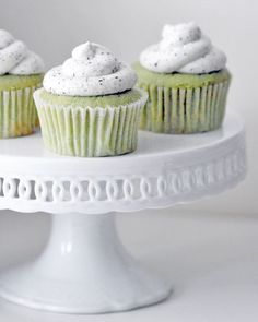 Green tea cupcakes with black and white frosting.
