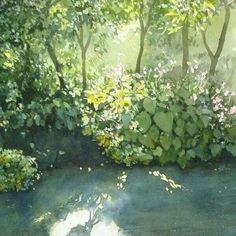 Watercolor Scenery Painting, Scenery Paintings, Green Paintings, Watercolor Water, Watercolor Plants, Watercolor Canvas, Watercolor Drawing, Watercolor Landscape, Landscape Paintings