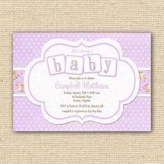 Shabby Chic Baby Shower Invitations - Printable