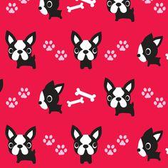 Cute French Bulldogs - Red fabric by boredinc on Spoonflower - custom fabric