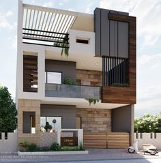 3 Storey House Design, Duplex House Design, House Front Design, Small House Design, Front Elevation Designs, House Elevation, Modern Exterior House Designs, Modern House Design, Dinning Lighting