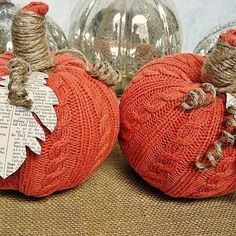 Easy project, all you need are dollar store pumpkin, a thrift store sweater, jute twine and Mod Podge!