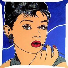 Cushion cover throw pillow case 18 inch retro vintage pop art Audrey Hepburn pipe both sides image zipper Art Pop, Pop Art Girl, Hollywood Icons, Hollywood Star, Vintage Pop Art, Retro Vintage, Audrey Hepburn Kunst, Tiffany, Cristina